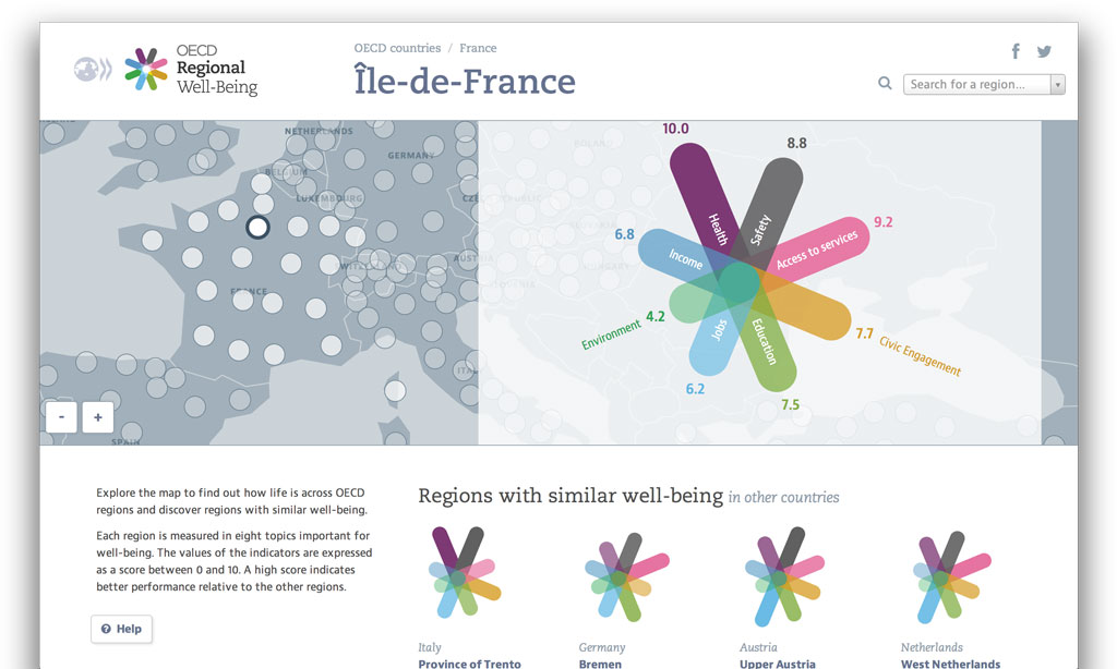 OECD Regional Well-Being shows well-being across regions
